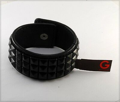 """G By Guess Black Designer Genuine Leather Dia Plate Design Wristband 8"""" Nwt"""