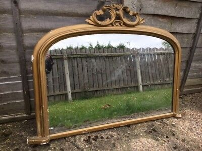 Victorian Large Mantle Mirror Wooden