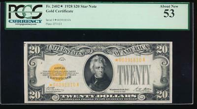 AC Fr 2402* 1928 $20 Gold Certificate STAR NOTE PCGS 53