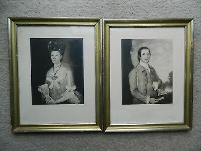 Pair of antique European style etching portraits , hand signed and dated