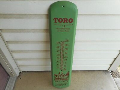 """Rare 1950's Toro Whirlwind Power Lawn Mowers 36"""" Metal Thermometer Sign"""