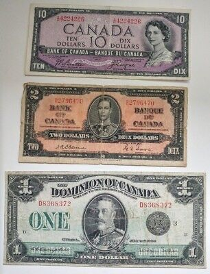 Lot Of 3 Bank/Dominion Of Canada Bank Notes 1923 1937 1954 Devils Face Portrait