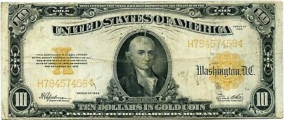 Genuine Series 1922 $10 Gold Certificate, VG+ Details with light Reverse soiling