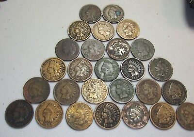 Indian Liberty Head Penny CULL Lot, Many from 1800's Old Cent Coins NR