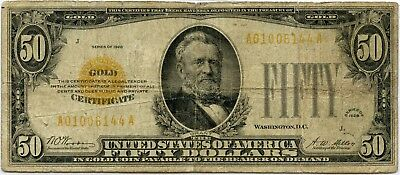 Genuine Series of 1928 $50 Gold Certificate, Small Size VG Condition