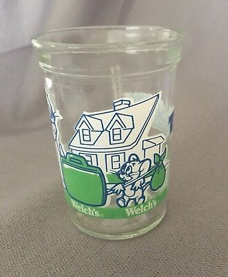 Tom and Jerry The Movie Welch's Jelly Jar Glass 1993 Green and Blue