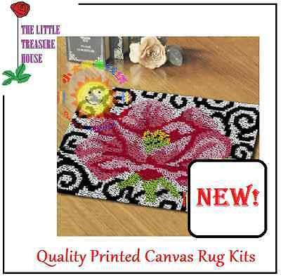 Stylish Pink Flower Latch Hook Rug Kit - Rug Making - Everything included