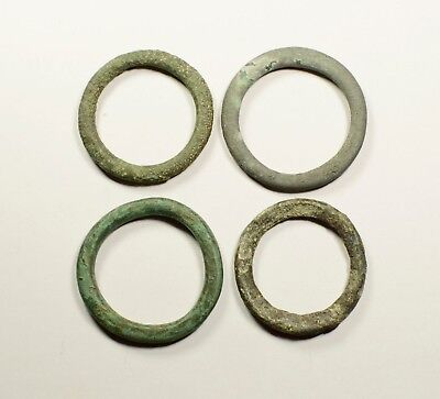 Huge!! Exchange Before Coins - Rare Lot Of 4 Celtic Bronze Proto-Money Rings