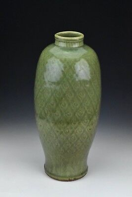 Antique Chinese Porcelain Carved Longquan Celadon Vase 14th / 15th Century