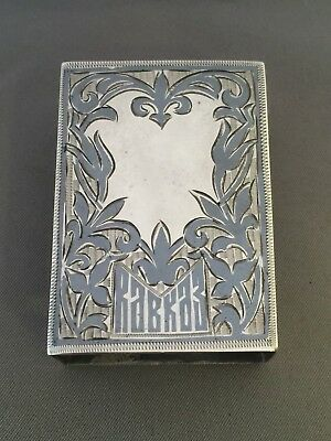 Antique Russian 875 Silver And Niello Match Box Holder.
