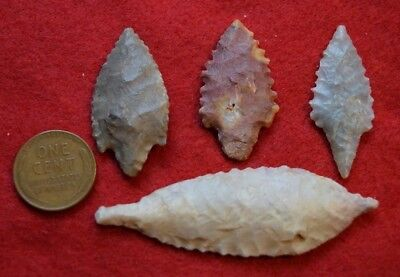 4 better Sahara Neolithic mixed style tools (1 drill ? & 3 projectile points)