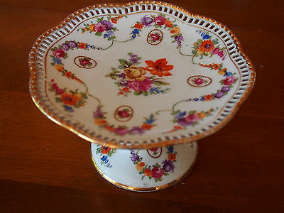 """Vtg Antique Schumann Reticulated Pierced Compote Footed Tazza Pedestal 6"""" x 3.5"""""""