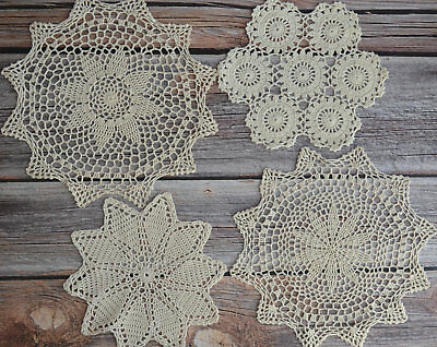 Set 4 Hand Crochet Doilies Lot in bluk French Country Ecru Wedding Table Runners
