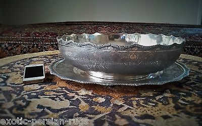 Gigantic And Massive Antique Solid Silver Set Of  Persian Isfahan Bowl & Tray