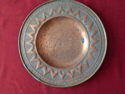 Old Arts & Crafts Hammered Copper Plate Dish