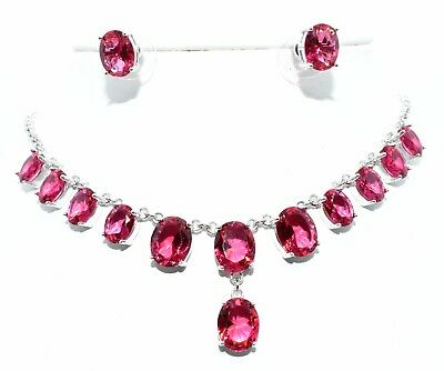 Sterling Silver Ruby 28.53ct Necklace Set (925) Free Gift Box