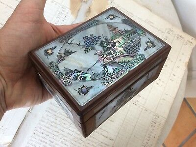 Antique Vietnamese Chinese Asian Inlaid Etched Mother of Pearl Hardwood Wood Box