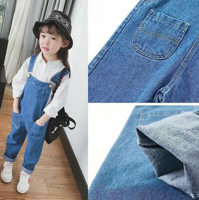 Toddler Kids Girls Dungarees Cotton Denim Jeans Pants Overalls Jumpsuit Trousers