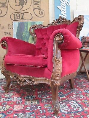 Vintage French Louis XV Style Carved Wooden Armchair Chair Throne Sofa Rococo