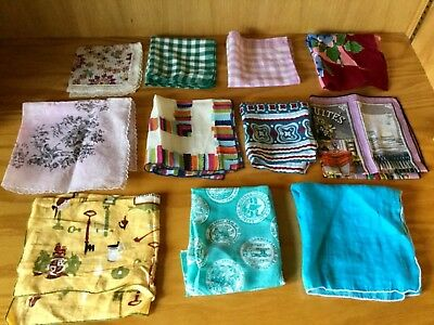 Vintage Lot of 11 Handkerchiefs Hankies Colorful and Printed