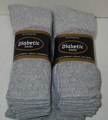 Diabetic Socks 12 Pair Gray Crew Size 13/15  Non- Binding Top ( Made In U.s.a.)