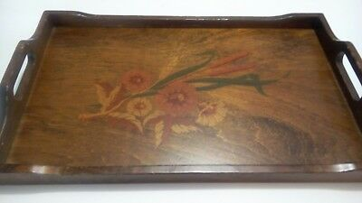 """vintage wooden tray CORNWALL 1978 Farmhouse Tray 20"""" X 12"""" handles Floral"""