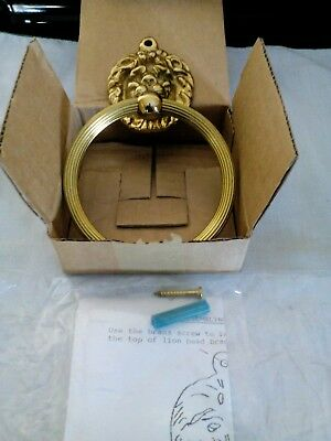 VINTAGE Brass Metal Lions Head Wall Mount Towel Holder NEW OLD STOCK EXCELLENT