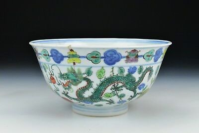 Antique Chinese Porcelain Dragon Phoenix Bowl Qianlong Mark & Period
