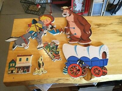 Praire Pete Cartoon Cardboard Wall Pin Ups 1950's ~ Vintage Dolly Toy Co.