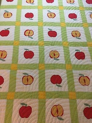 """Vintage Hand made Apple Pattern Twin Quilt 74"""" X 90"""" white red green yellow"""
