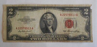 1953  $2.00 United States Two Dollar Bill Red Seal Note OFFSET.. Printing Error