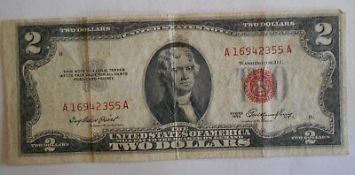 1953  $2.00 United States Two Dollar Bill Red Seal Note OFFSET,, Printing Error