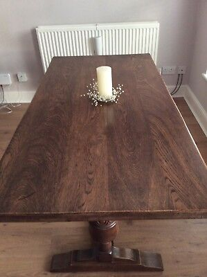 Beautiful Antique Solid Oak Refectory Farmhouse Dining Table