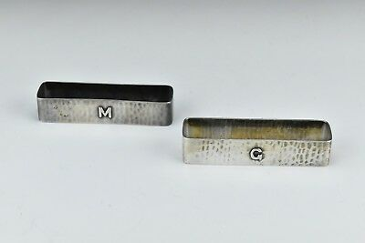 Pair of Lebolt Handmade Arts & Crafts Sterling Silver Napkin Rings 1.86 Troy oz