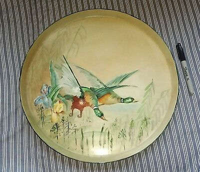 """Rare! Very Large 16"""" Antique TV Limoges Hand Painted Duck Platter Serving Tray"""