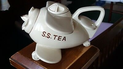 Fitz & Floyd Pottery Air Plane - S.S.TEA - Teapot Vintage 1978 Complete with Lid