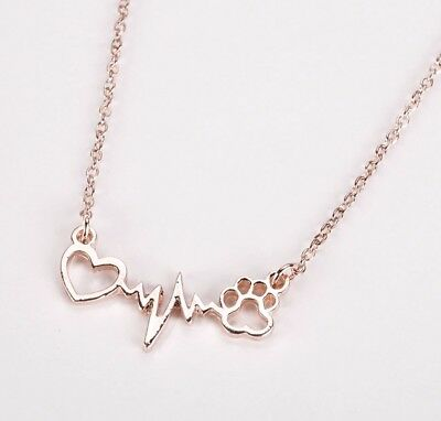 Silver Plated Dogs Leave Paw Prints On Your Heart Necklace Gift 69806