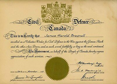 1945 Ww2 Canadian James Brownell Civil Defence Canada Training Certificate