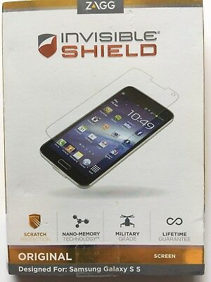 Zagg Invisible SHIELD Screen Protector for Samsung Galaxy S5 (Clear) NEW