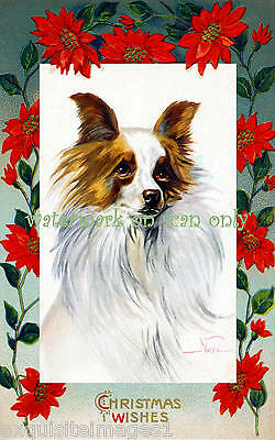 Antique Art~Christmas Papillon Dog~NEW Christmas Note Cards