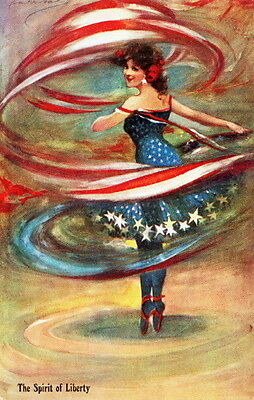 1907 Barribal~Spirit of Liberty~Ballet Dancer Spins American Flag NEW Note Cards