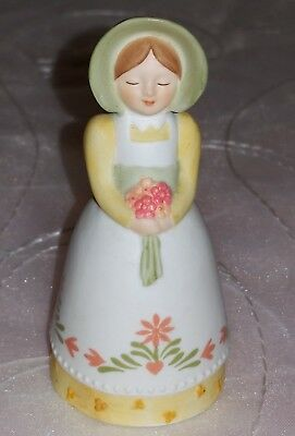 Avon Country 1985 Porcelain Bell Girl w/ Bonnet & Bouquet -Hand painted VGUC