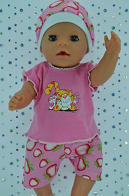 """Play n Wear Doll Clothes To Fit 17"""" Baby Born STRAWBERRY PANTS~TOP~HAT"""