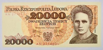 Maria Curie  20,000 Zlotych   P 152  1989 UNC.