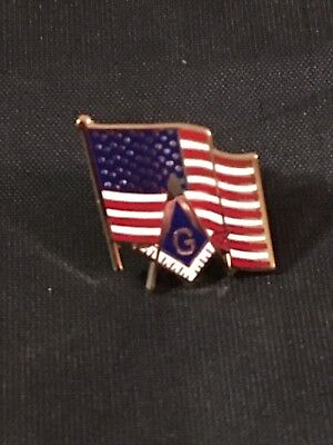 Master Mason Lapel Tac Pin Patriotic Square Compass US Flag Fraternity  NEW!