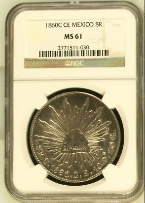 Mexico Republic 8 Reales 1860 C CE NGC MS61 scarce undervalued coin