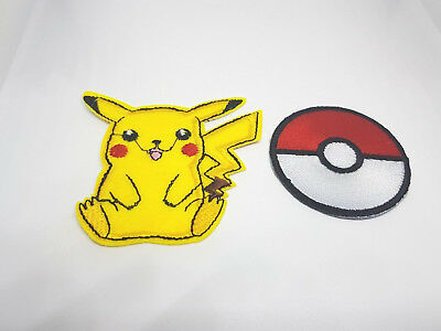 POKEMON Iron on / Sew on 2-Piece Patch Set Embroidered Badge Pikachu Go PS3