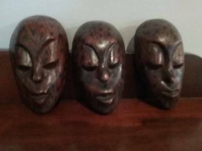 Wood Africian Mask trio (small)