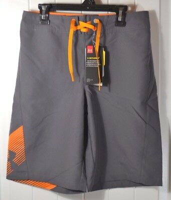 Nwt Boys Under Armour Storm Gray Swimming Suit Trunks Board Shorts Sz 28, 29