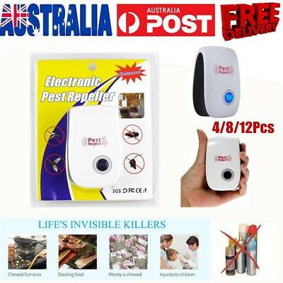 Electronic Ultrasonic anti Pest Bug Mosquito Cockroach Mouse Killer Repeller AU